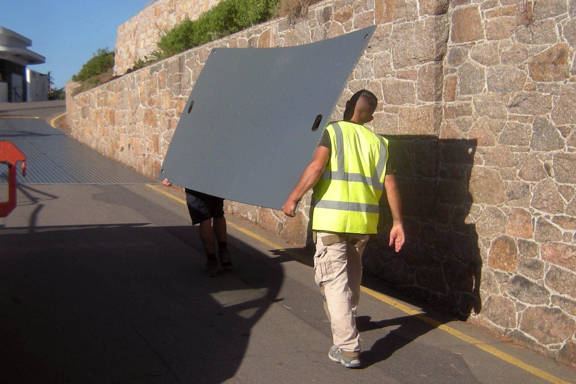 Duramatt Lite ground protection builders with light duty mat spoilboard