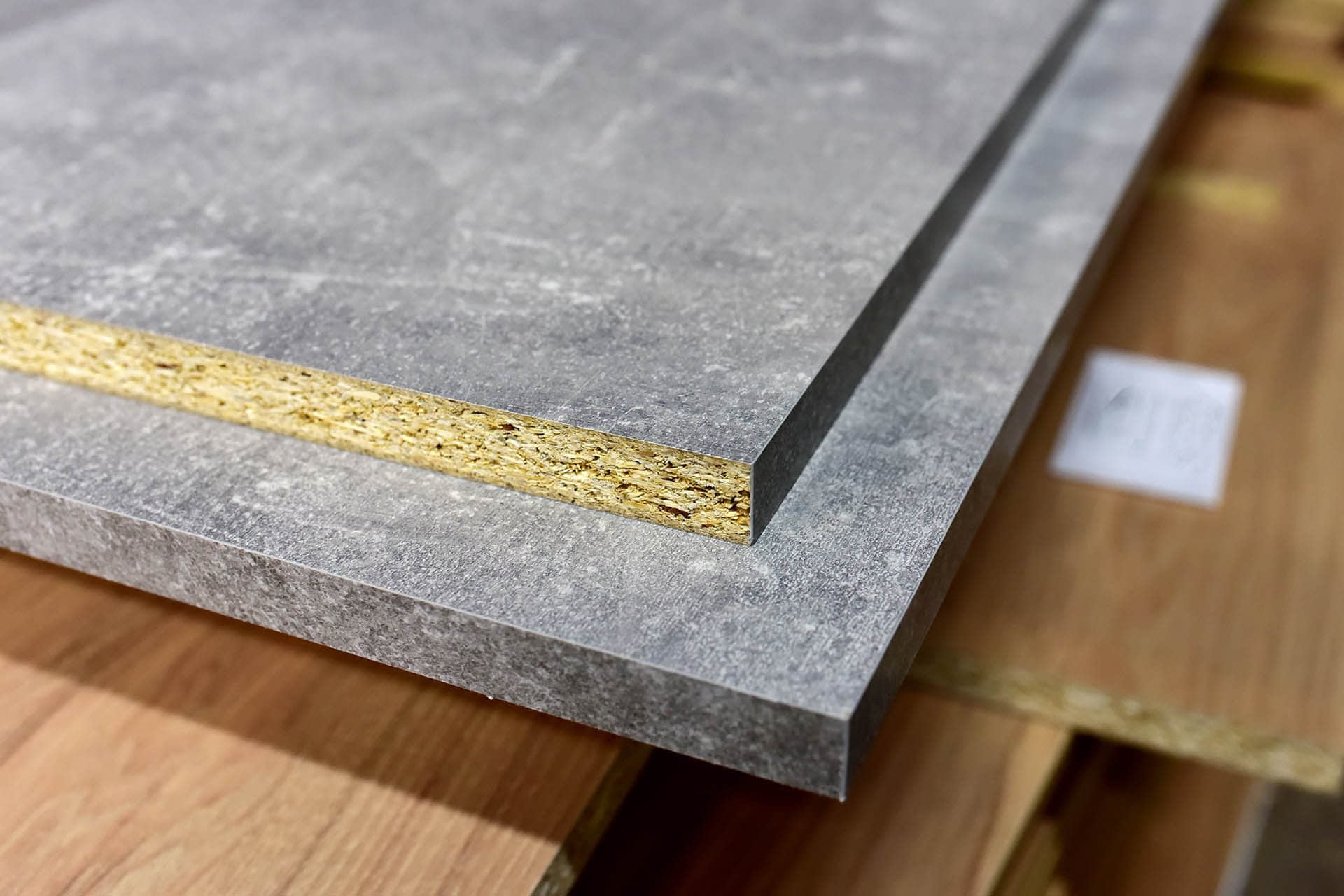 MDF Chipboard laminated sizes stacked sheet materials