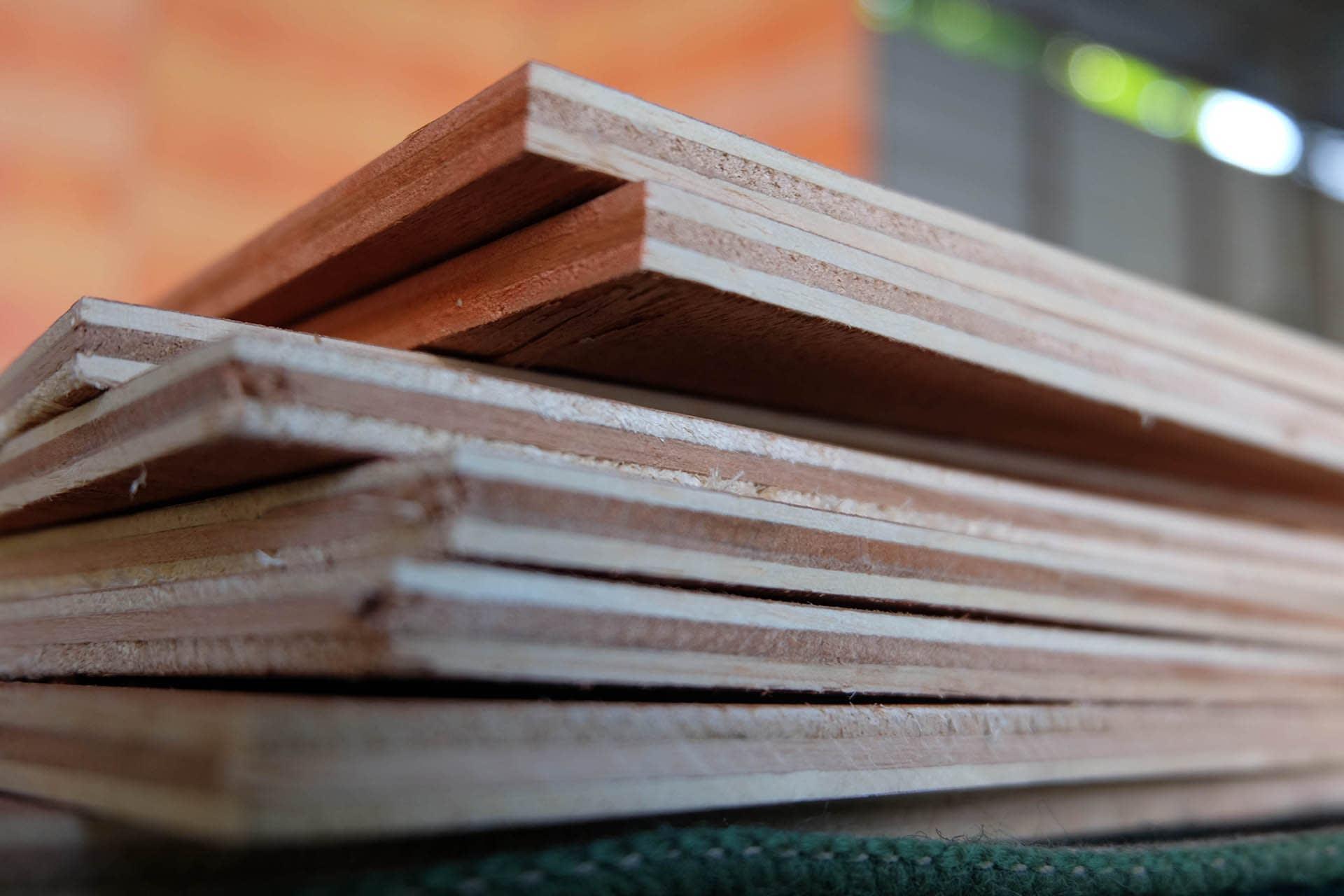 plywood boards closeup stacked sheet materials
