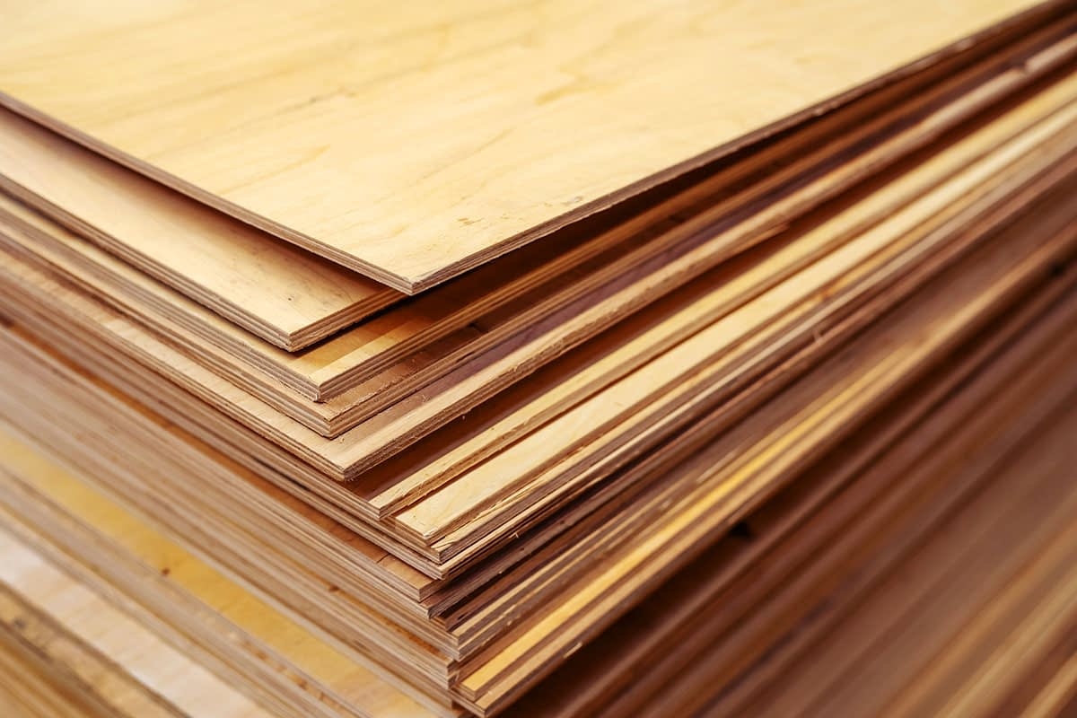 Stacked wood sheets